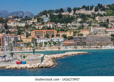 MENTON, FRANCE - JUNE 05, 2019: Old town architecture of Menton on French Riviera. Provence-Alpes-Cote d'Azur, France.