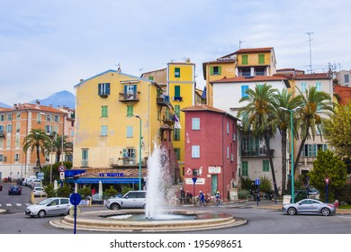 Menton , France , October 15, 2013 . Old houses on the beach