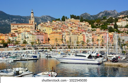 Menton / France - September 25, 2016: Port and old town of Menton