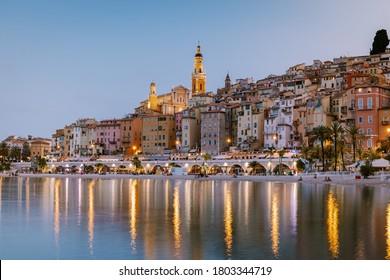 Menton France,Cote d Azur France, View on old part of Menton, Provence-Alpes-Cote d'Azur, France Europe