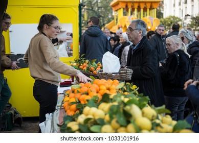 Menton, France-Febrauary 18, 2018: 85th Lemons Festival with the Bollywood theme in Menton, France