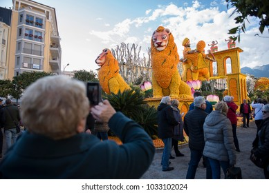 Menton, France-Febrauary 18, 2018: 85th Lemons Festival with the Bollywood theme in Menton, France