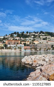 Menton French Riviera town at Mediterranean Sea in France
