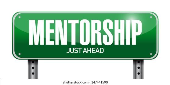 mentorship road sign illustration design over a white background