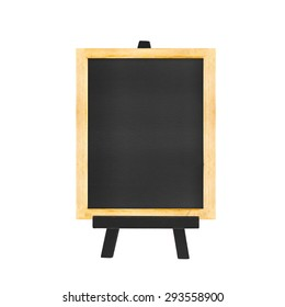 Menu Blackboard on black easel isolated on white background