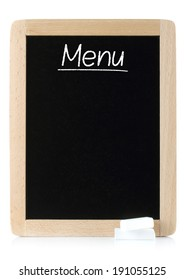 Menu blackboard with white chalks on white background