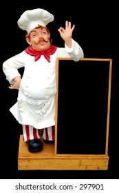 Menu board with statue of chef