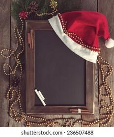 Menu chalkboard in a Christmas atmosphere.