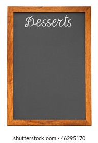 Menu chalkboard for desserts isolated on white background