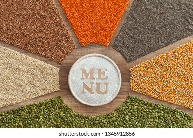Menu choices from colorful grains, seeds and cereals variety - healthy plant based diet