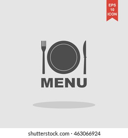 menu with cutlery sign.