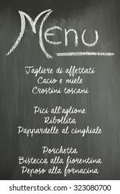 Menu on a chalkboard, typical Tuscan and Italian food