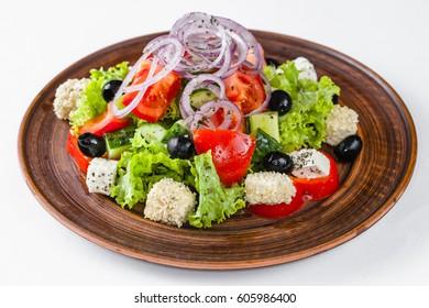 Menu restaurant. Greek salad.