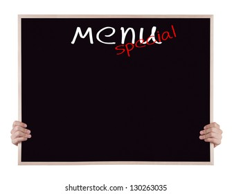 menu special on blackboard with hands