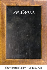 Menu title written with chalk on blackboard