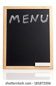 Menu title written with chalk on blackboard, isolated on white background
