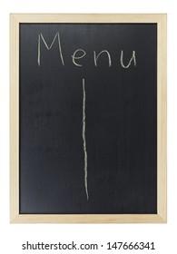 Menu writing on blackboard, isolated on white