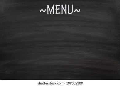 Menu written on a blank blackboard