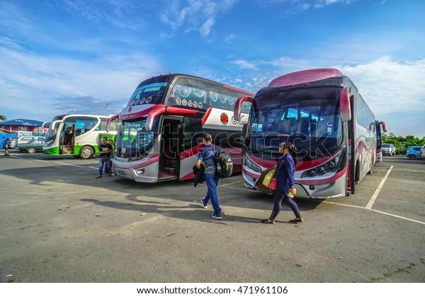 Menumbok,Sabah-Aug 19,2016:View of Menumbok bus terminal located at Menumbok,Sabah.People used to take bus from Kota Kinabalu to Menumbok,Sabah then ferry to Labuan island to enjoy tax free shopping.