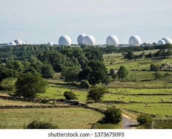 Menwith Hill, Harrogate, North Yorkshire, England, Britain, June 2018, radar domes known locally as 'golfballs on' RAF Menwith Hill military base