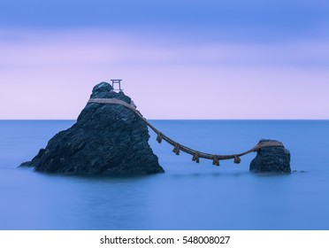 Meoto Iwa (the Wedded Rocks) are two sacred rocks in the ocean near Futami, a small town in Ise City