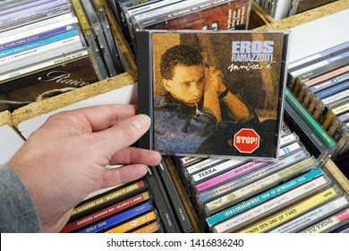 MEPPEL, THE NETHERLANDS - MARCH 21, 2019: Album: Eros Ramazzotti - Musica e, CD record of the store.Italian musician, singer and songwriter Eros Ramazzotti in a second hand store.