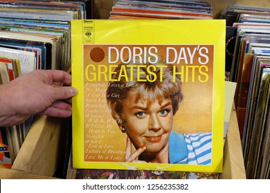 MEPPEL, THE NETHERLANDS - NOVEMBER 30, 2018: Album: Doris Day's Greatest Hits, LP record of the American actress, singer, and animal welfare activist Doris Day, in a second hand store.