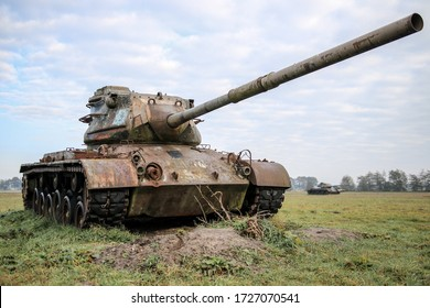 Meppen, GERMANY - 15 december 2019: Abandoned WWII american tanks in Germany (M47 Patton battle tank). Urbex exploration in german countryside.