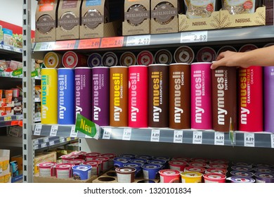 MEPPEN, GERMANY - AUGUST 21, 2018: Mymuesli packings in a Kaufland supermarket. Mymuesli is a German brand of breakfast cereals containing 100% organic ingredients.