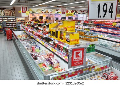 MEPPEN, GERMANY - FEBRUARY 27, 2015: Interior of a German Kaufland Hypermarket. Kaufland is a German hypermarket chain, part of the Schwarz Gruppe.