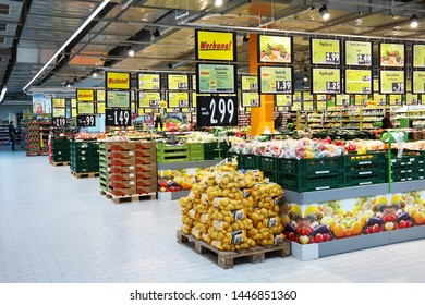 MEPPEN, GERMANY - FEBRUARY 27, 2015: Fruits and vegetables on the fresh department of a Kaufland supermarket. Kaufland is a German hypermarket chain, part of the Schwarz Gruppe.