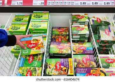 MEPPEN, GERMANY - MARCH 2, 2016: Frozen vegetables from Iglo in freezer of a kaufland Hypermarket. Iglo Group is a frozen food company owned by Nomad Foods a British Virgin Islands-based food company.
