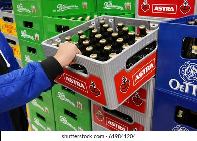 MEPPEN, GERMANY - MARCH 2, 2016: Stack of Astra pilsener beer crates in a Kaufland hypermarket. Astra beer brand is brewed by Holsten Brewery in Hamburg owned by The Carlsberg Group.