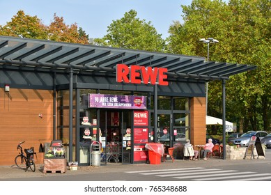 MEPPEN, GERMANY - OCTOBER 18, 2017: Entrance of a german REWE supermarket, part of the REWE Group