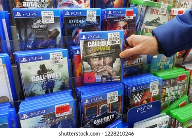 MEPPEN, GERMANY - OCTOBER 30, 2018: Call of Duty for PlayStation 4, a popular game for a home video game console in a Kaufland hypermarket.
