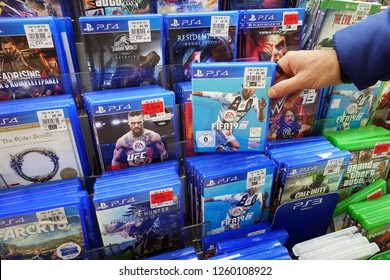 MEPPEN, GERMANY - OCTOBER 30, 2018: PlayStation 4 game FIFA19 a popular game for a home video game console in a Kaufland hypermarket.