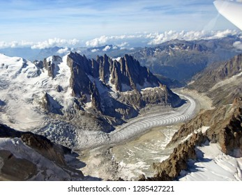 Mer de Glace, Mont Blanc Mountain. Aerial View from glider. Italian Alps