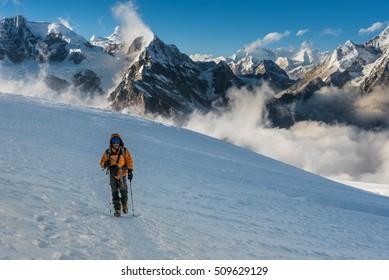 Mera peak, Nepal, Nov 6, 2015 : A trekker walking on the way to the top of Mera peak