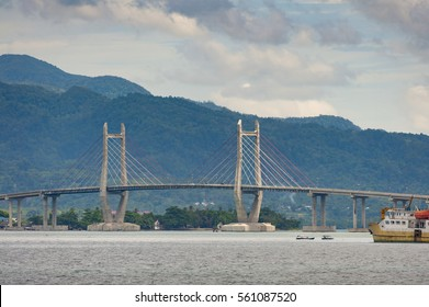 Merah Putih Bridge, Ambon City, Maluku, Indonesia. This bridge, a cable stayed bridge, is the longest bridge in the eastern region of Indonesia and is the landmark of the city.