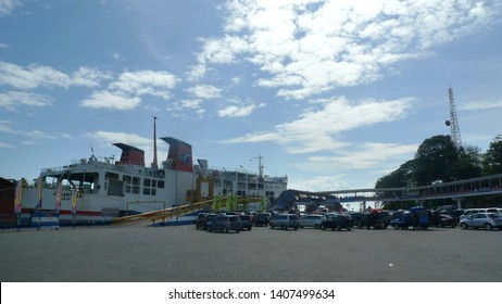 Merak, Banten / Indonesia - August 8, 2013 : Merak Port is a ferry port in Pulomerak, Cilegon City, Banten that connects Java Island with Sumatra Island ...