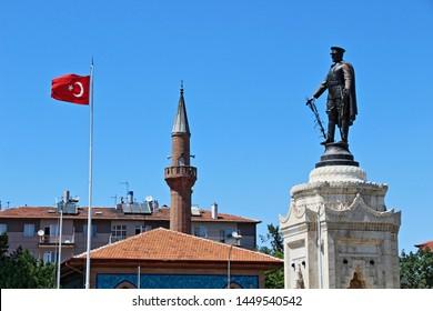 Meram, Konya / Turkey - June 30, 2019: Statue of Ataturk in Konya (Sculptor Heinrich Krippel)