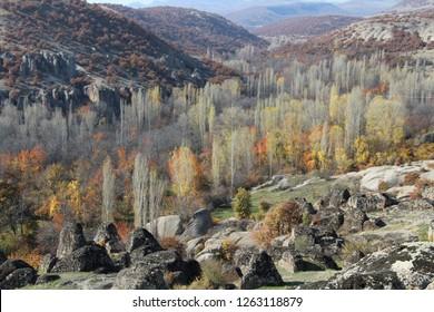 Meram, Konya / Turkey - November 11, 2018: Autumn in the village of Kilistra in Konya.