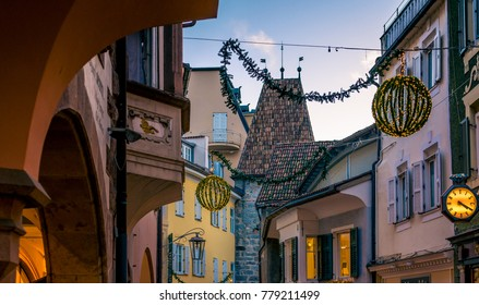MERAN, Italy december 16, 2017: harmonious atmosphere, which fills the old town of Meran during the Christmas time.