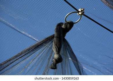 Meran, Tyrol, Italy. June 18, 2019. Protective netting and metal ring in Meran, Italy, as the apple season progresses. Netting is used to protect the crop against hailstones, birds and other factors.