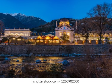 Merano Christmas market in the evening, Trentino Alto Adige, northern Italy.
