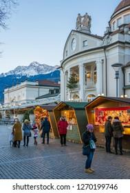 Merano Christmas market in the evening, Trentino Alto Adige, northern Italy. December-16-2018