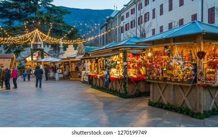 Merano Christmas market in the evening, Trentino Alto Adige, northern Italy. December-16-2018