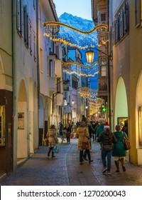 Merano during Christmas time in the evening, Trentino Alto Adige, northern Italy. December-16-2018