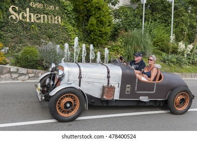 Merano, Italy - July 08, 2016: Rover P2 Special 16 HP on the Schenna road towards Scena village during the Südtirol Classic Schenna Rally 2016.