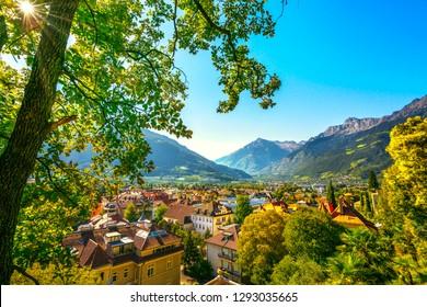 Merano or Meran view from Tappeiner promenade. Trentino Alto Adige Sud Tyrol, Italy. Europe.